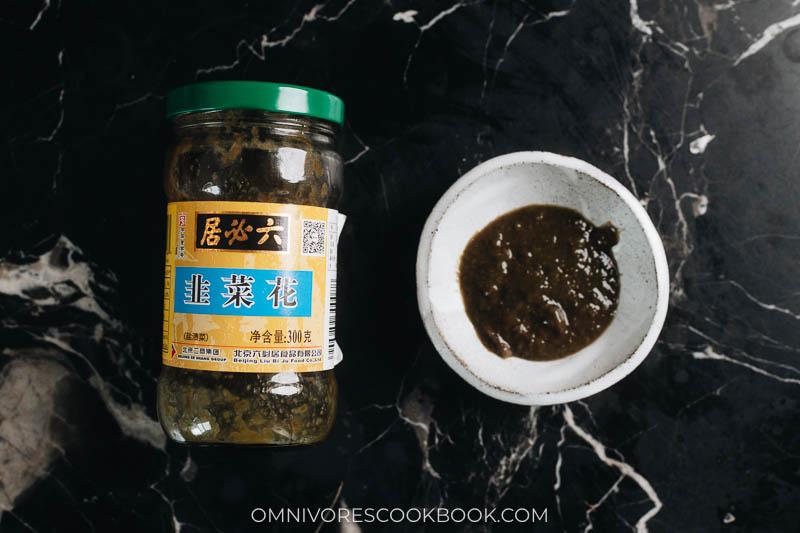 Chinese fermented leek flower sauce (jiu cai hua)