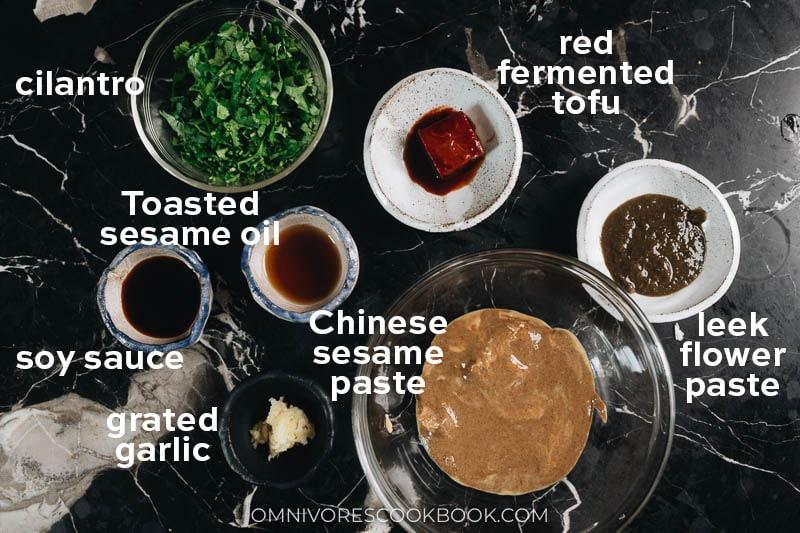 Ingredients for making Beijing hot pot dipping sauce