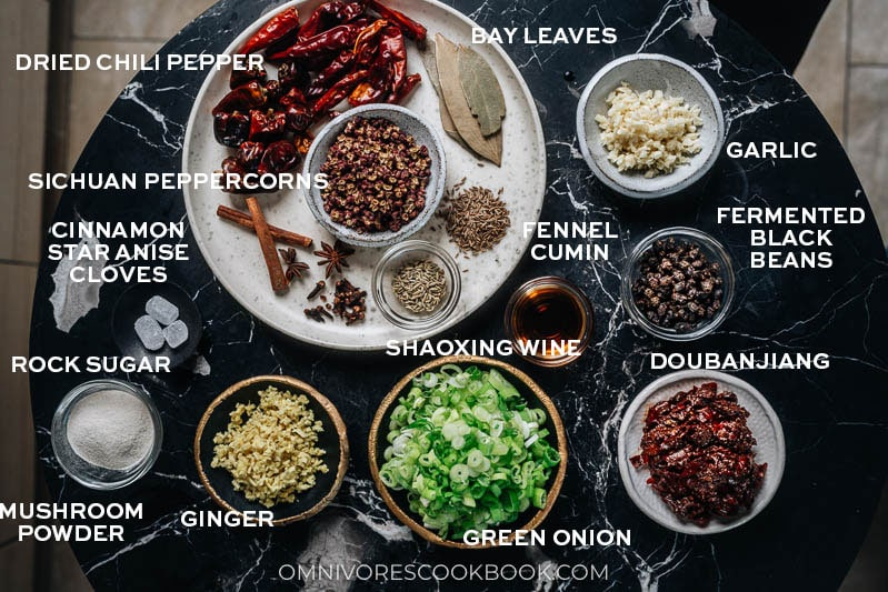 Ingredients for making Sichuan hot pot soup base