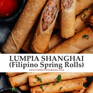 Lumpia Shanghai is a perfect appetizer and finger food for parties and festive dinners. These super crispy and crunchy egg rolls are packed with pork, carrots, celery, and onions and come with a sweet yet spicy dipping sauce that will have everyone sopping up every last morsel!