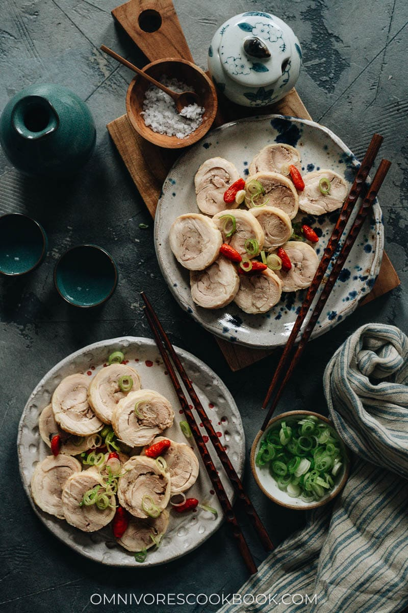 Chinese drunken chicken served in plates