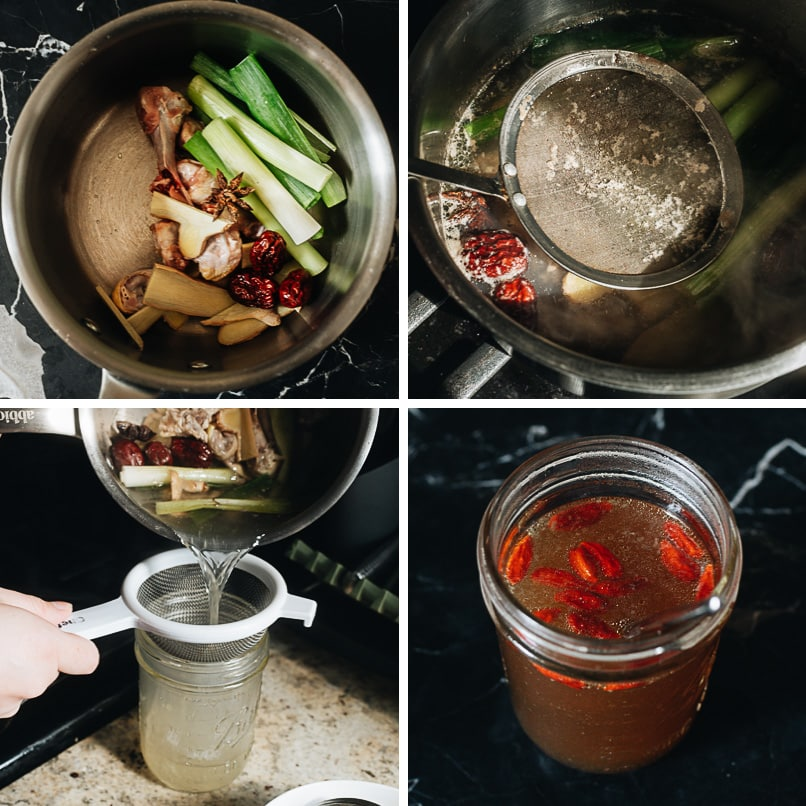 Making broth for marinating