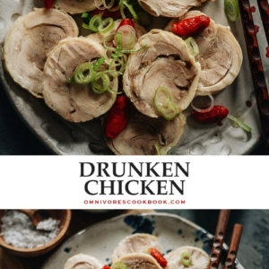 Drunken chicken is a traditional Chinese cold appetizer with a juicy texture, an aromatic taste, and just a touch of booze. Make it in advance and serve it with beer - it's perfect for snacking and dinner parties.