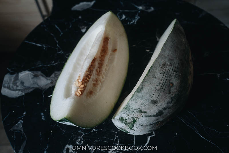 Winter melon cut to wedges