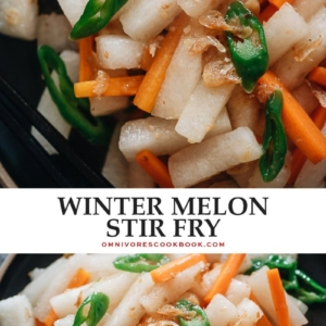 This quick and easy winter melon stir fry uses Chinese dried shrimp to add a super umami flavor. It's a perfect side dish to add texture, flavor, and nutrition to your dinner table. {Gluten-Free}
