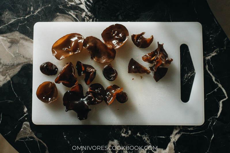 Rehydrated wood ear mushrooms