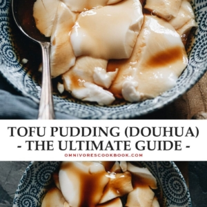This ultimate guide to making tofu pudding (doubua / uncurdled soft tofu) explains how to use different coagulants and their results. The post includes recipes for using GLD, gypsum, gelatin, and agar agar and covers the methods and results using nigari and citrus. Look no further if you want to make the perfect tofu pudding using whatever ingredients you have on hand. {Vegan, Gluten-Free}