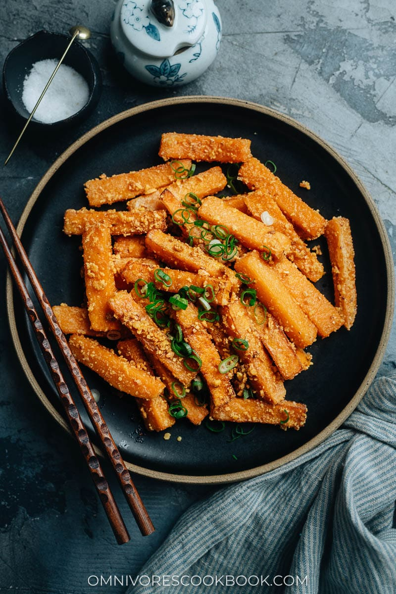 Chinese fried pumpkin with salted duck egg