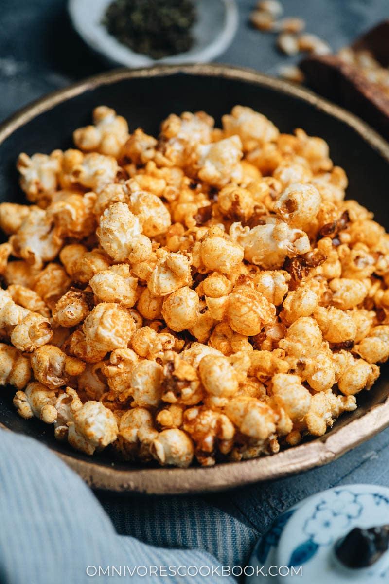 Homemade popcorn close up