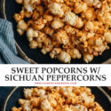 Make movie night or snack time more fun with this spiced sweet popcorn with hints of saltiness and the numbing tingling sensation to keep you wanting more! {Gluten-Free, Vegan}