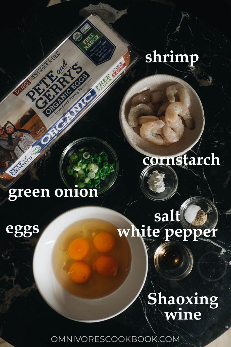 Ingredients for making scrambled eggs with shrimp