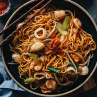 Homemade seafood chow mein