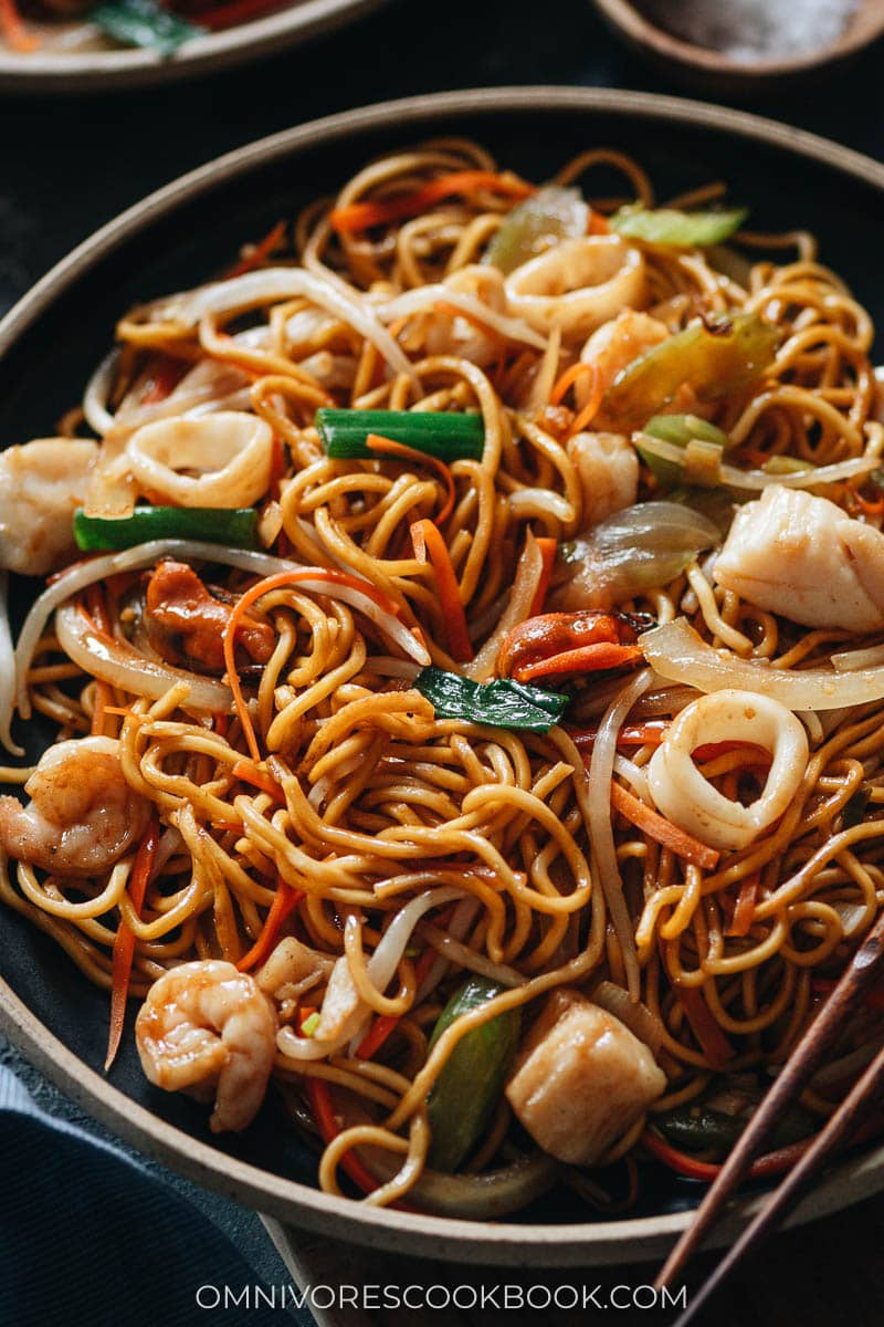 Seafood chow mein close up