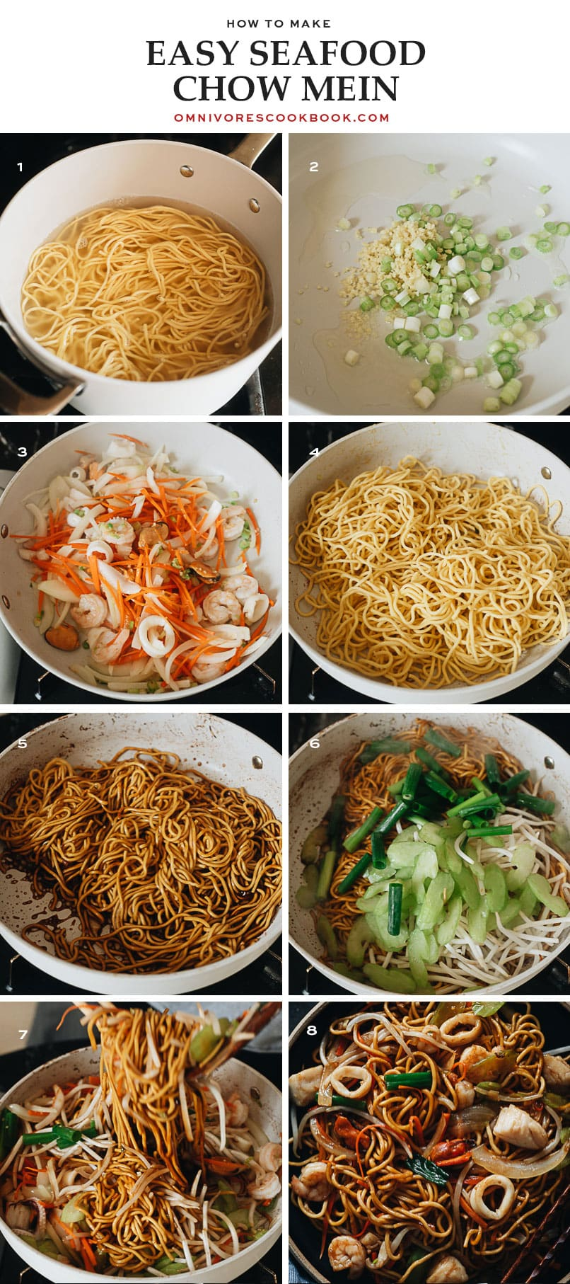 Seafood chow mein cooking step-by-step