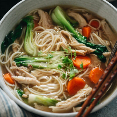Chinese chicken noodle soup in a bowl