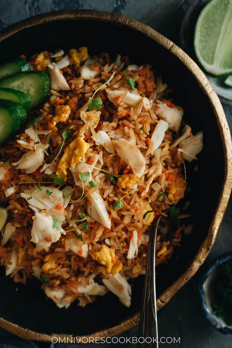 Crab fried rice close up