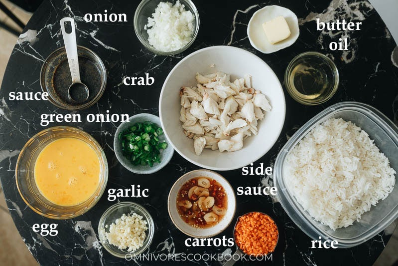 Ingredients for making crab fried rice