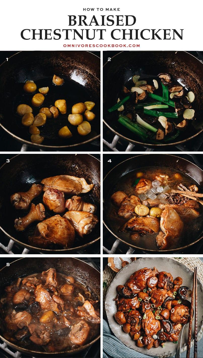 Braised chestnut chicken cooking step-by-step
