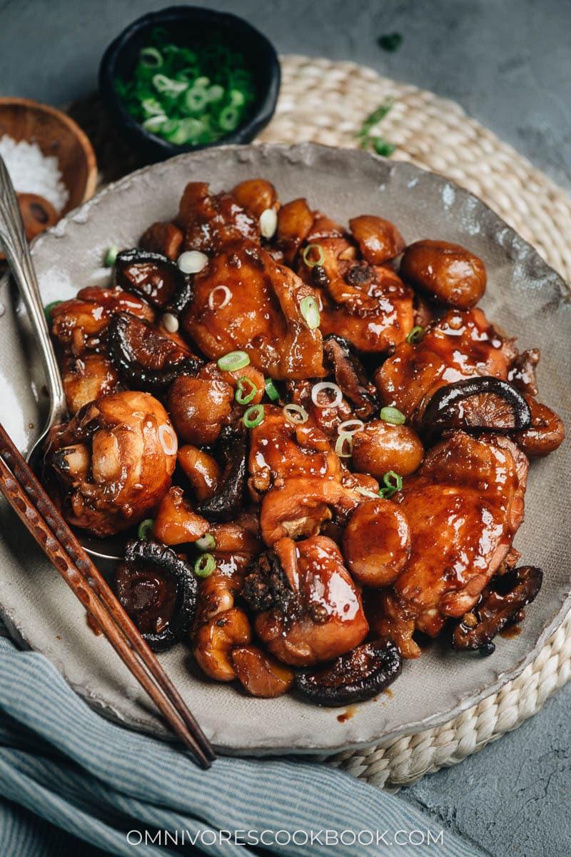 Braised chicken with chestnut and shiitake mushrooms