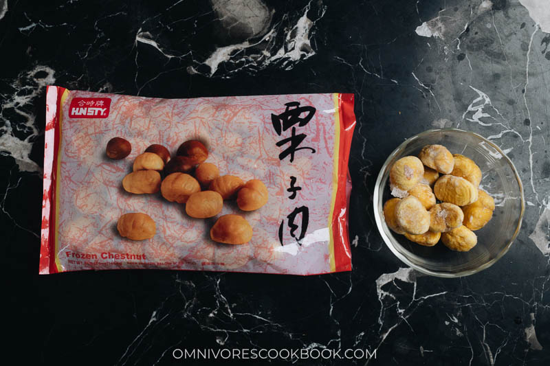 Frozen chestnut in package