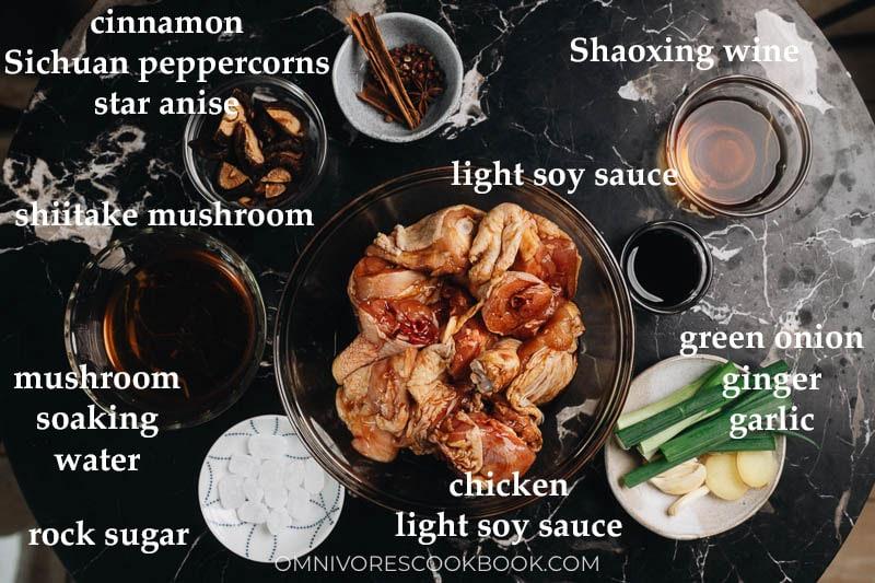 Ingredients for making braised chestnut chicken