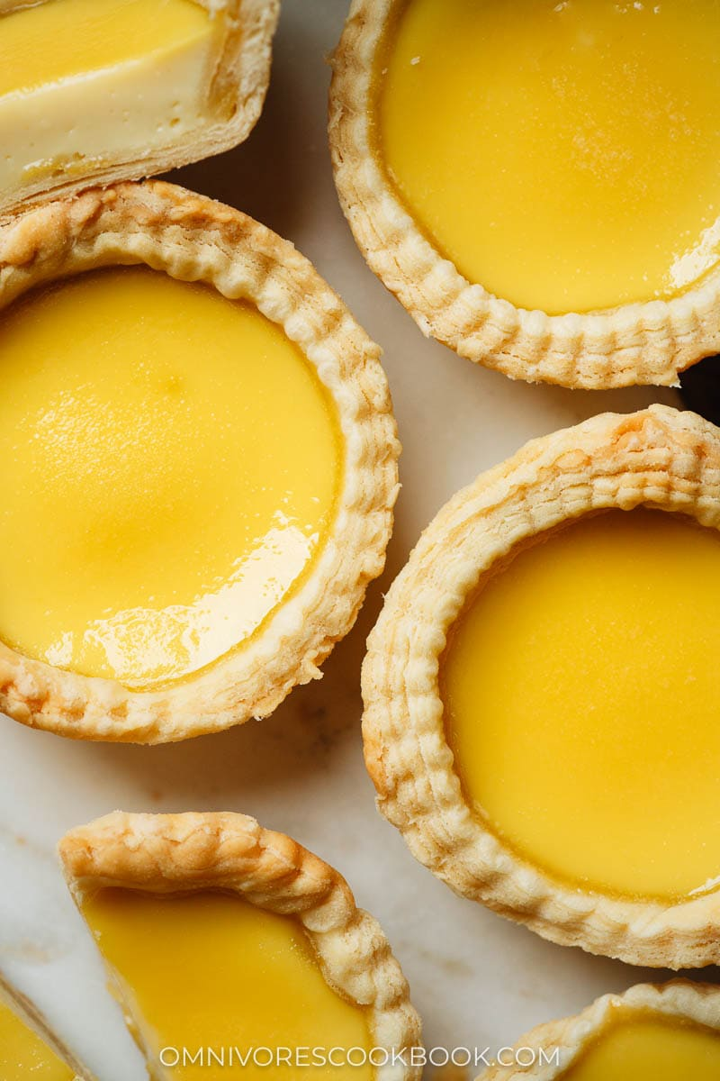 Hong Kong egg tart close up