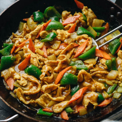 Chinese curry chicken in a pan