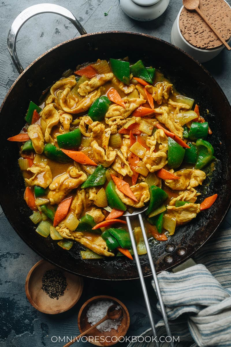 Chicken stir fry with curry sauce