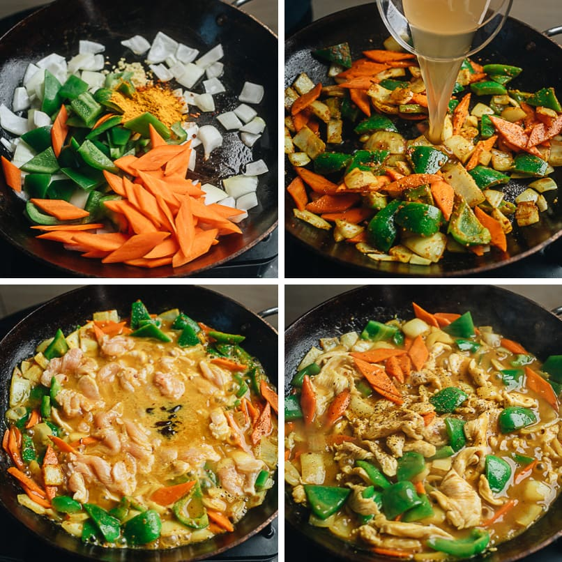 Curry chicken cooking step-by-step