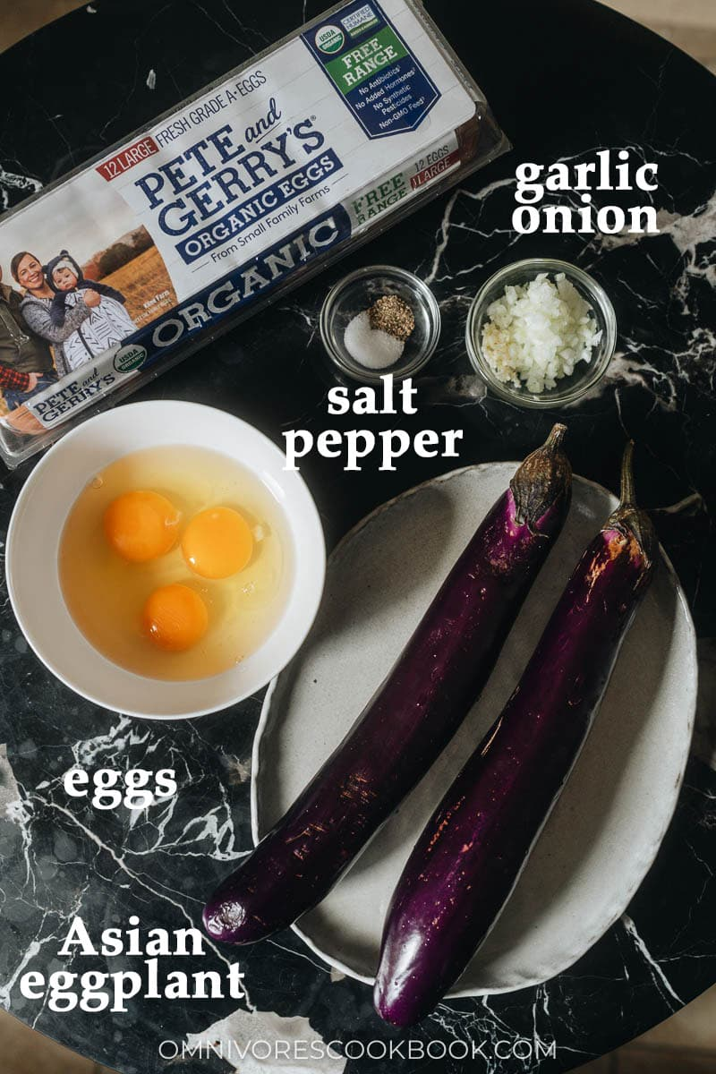 Raw eggs and eggplant for tortang talong