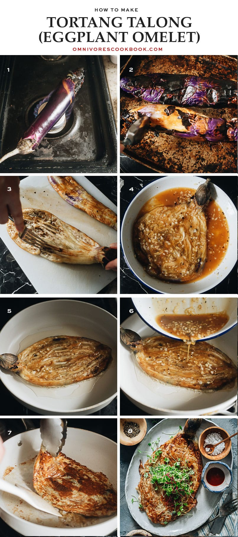 Process of grilling and frying eggplant omelet