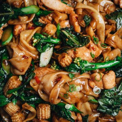 Thai drunken noodle close up