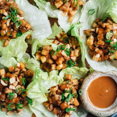 Tofu lettuce wrap close up