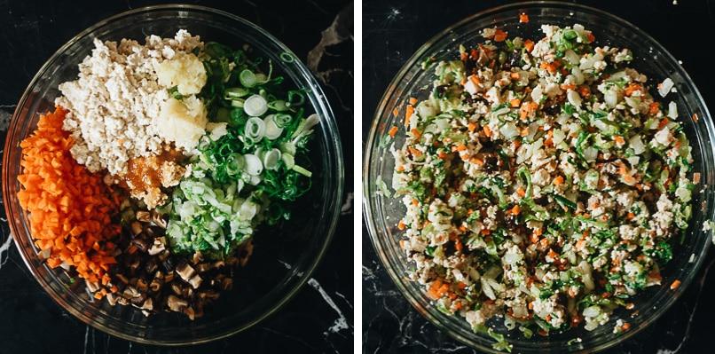 How to mix vegetarian wonton filling