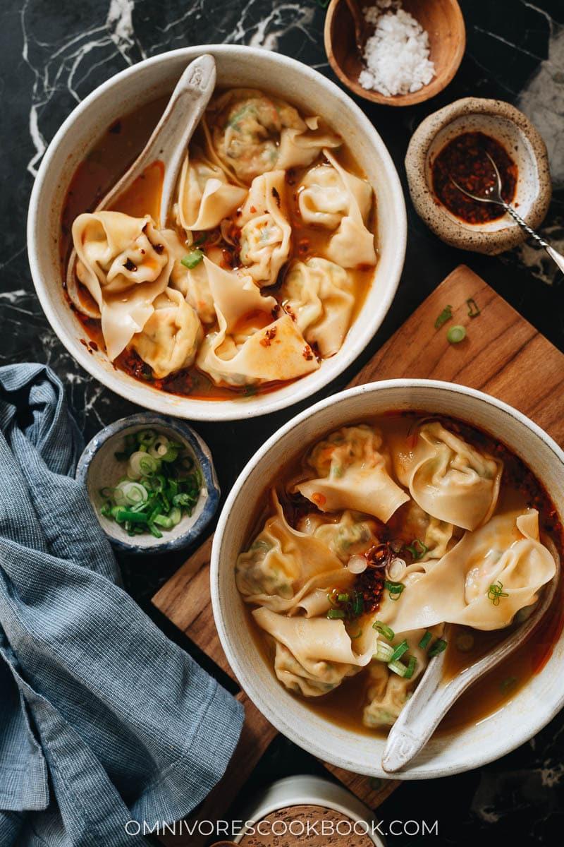 Two bowls of wonton soup