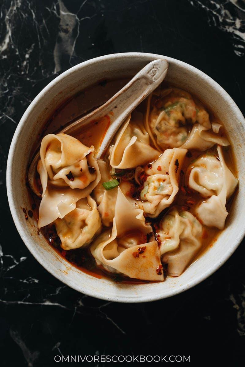 One bowl of soup with vegan dumplings