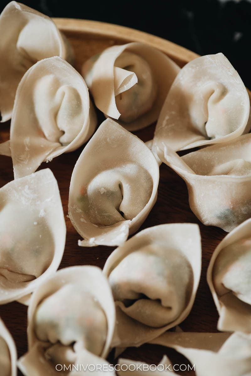 Close-up of uncooked wontons