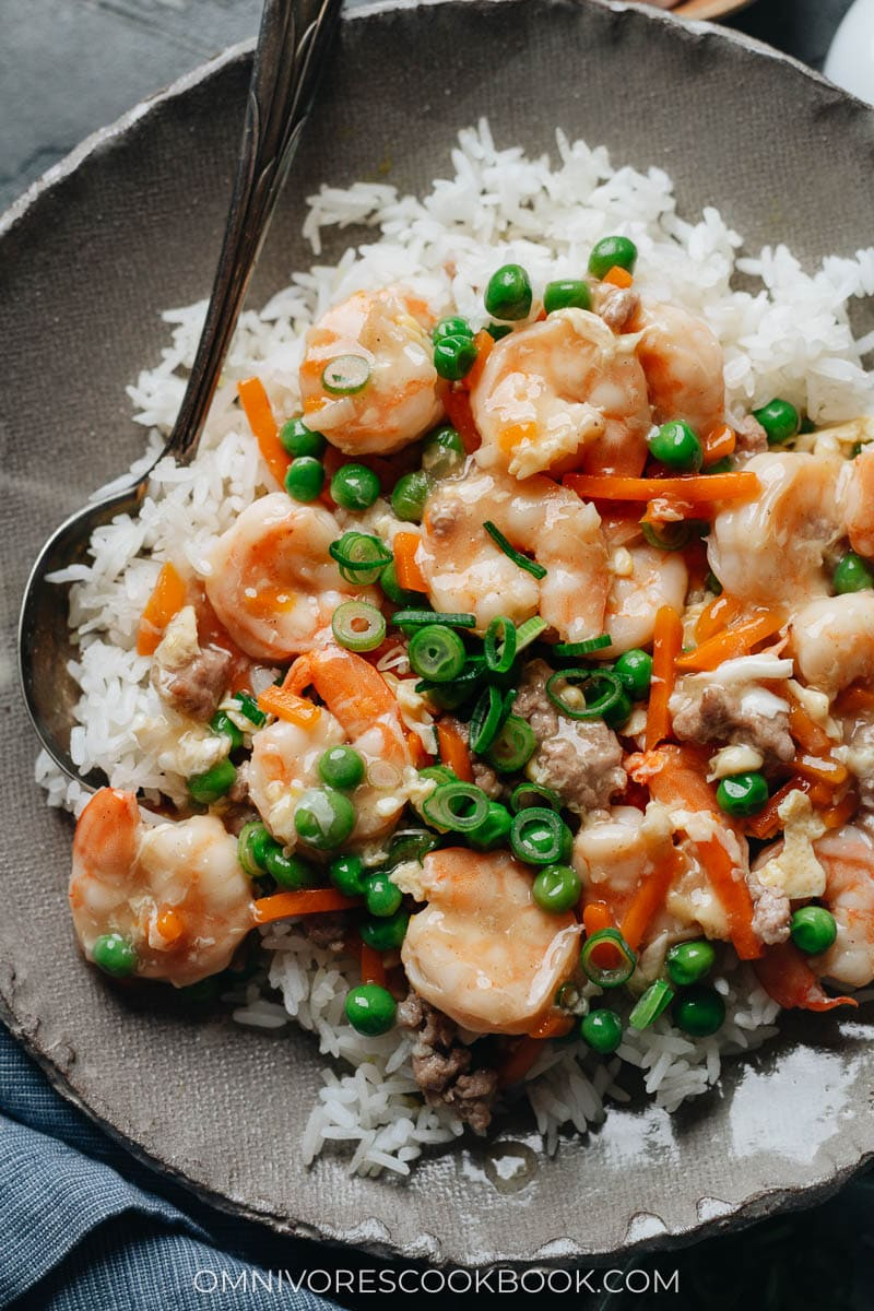 Chinese shrimp with lobster sauce