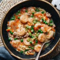 Get classic Cantonese flavors on your table in minutes when you make shrimp with lobster sauce for a luxuriously delicious meal that's as simple as can be! {Gluten-Free Adaptable}