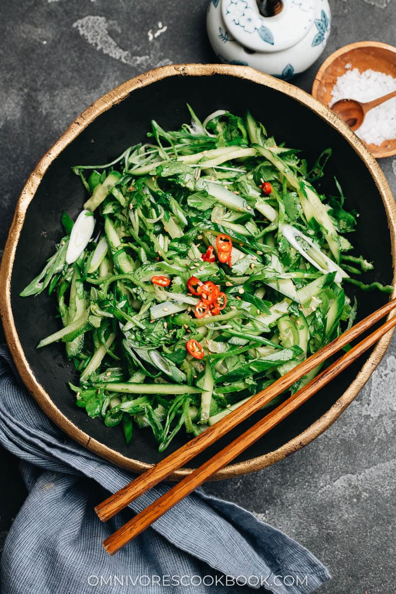 Chinese tiger salad with cucumber, green onion, and chile pepper