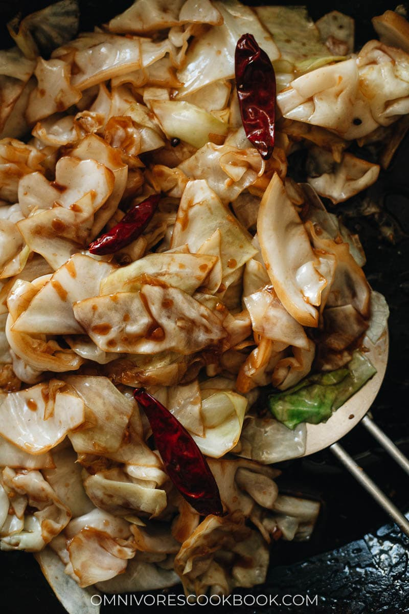 Easy, fast, delicious sauteed cabbage close-up