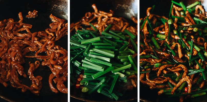 How to cook garlic chive pork stir fry