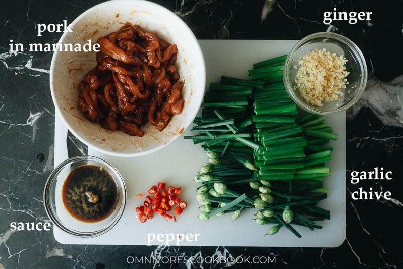 Mise-en-place for garlic chive pork stir fry