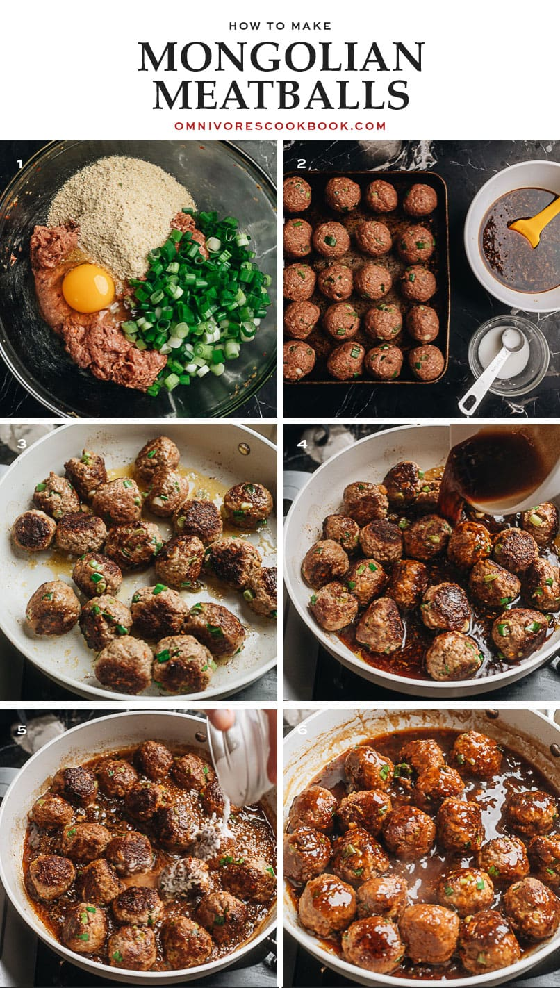 Step-by-step photos for making sweet-sour-savory meatballs
