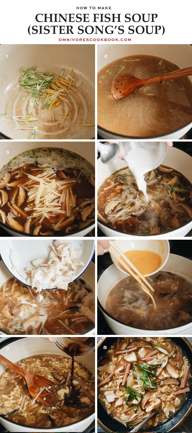 Step-by-step photos for preparing hot and sour fish soup