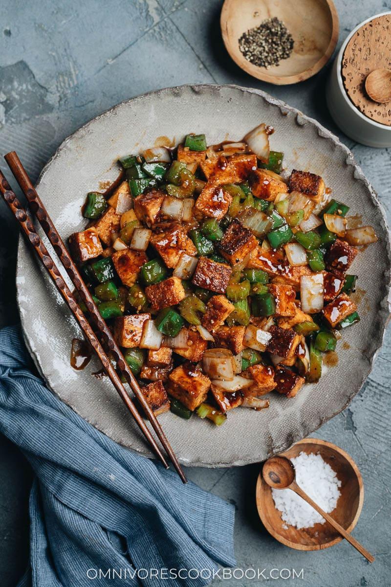 Chinese black pepper tofu on a plate