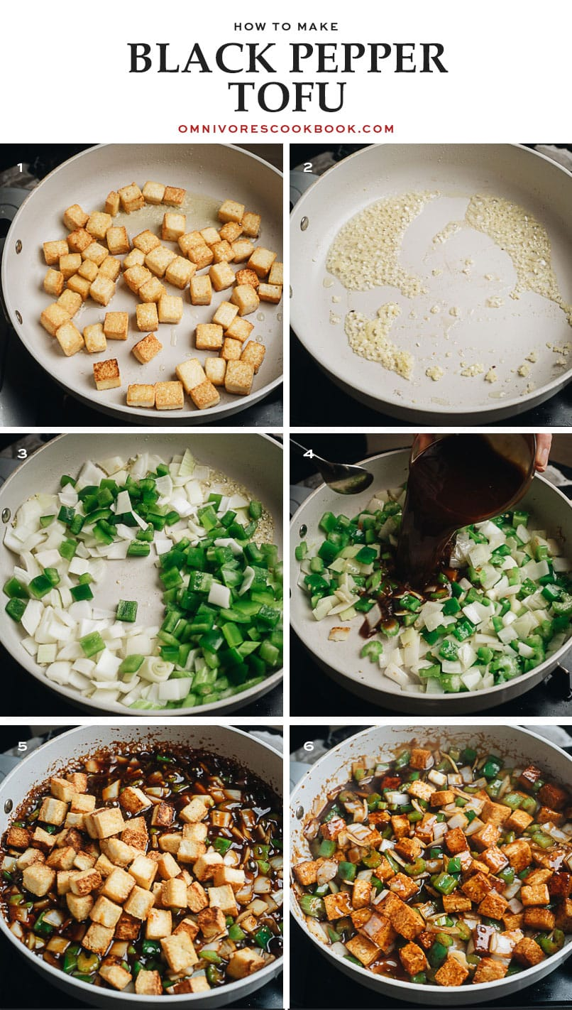 Step-by-step cooking photos for black pepper tofu