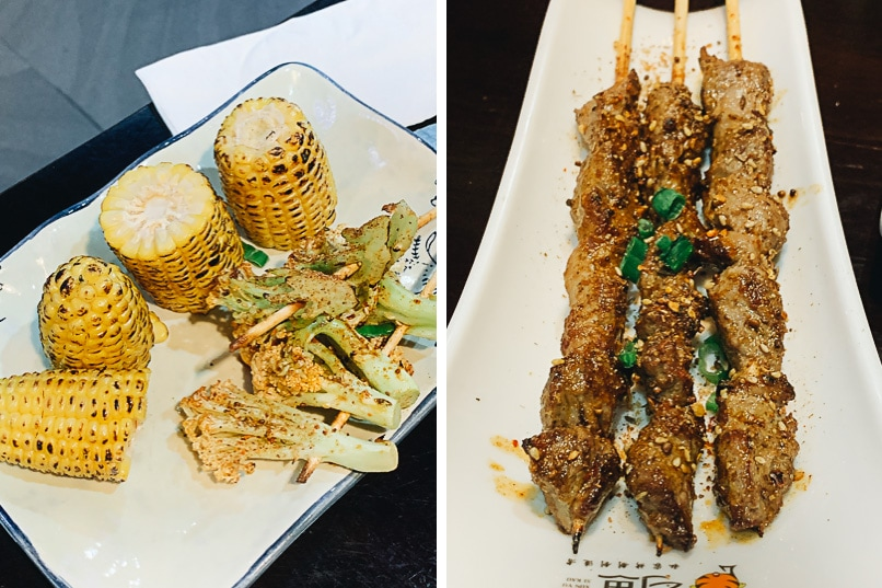 Roasted corn and lamb skewers at Xun Yu Si Kao