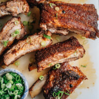 These super-simple dry rub ribs come out with a texture that melts in your mouth and a sweet yet spicy taste that makes them impossible to resist!