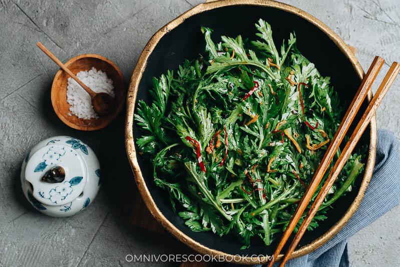 Chinese chrysanthemum greens salad